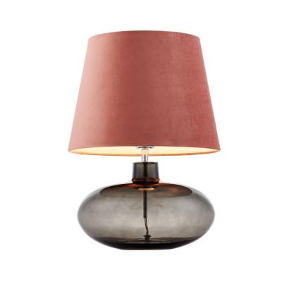 Lampa stojąca SAWA VELVET różowy aksamitny abażur na szklanej dymnej podstawie z dodatkami w kolorze chromu KASPA