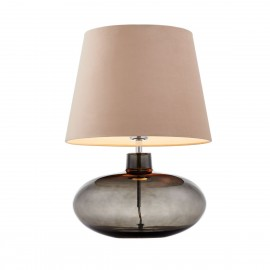 Floor lamp SAWA VELVET beige velvet lampshade on a glass smoke base with chrome accessories KASPA