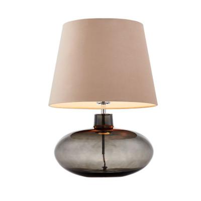 Lampa stojąca SAWA VELVET beżowy aksamitny abażur na szklanej dymnej podstawie z dodatkami w kolorze chromu KASPA