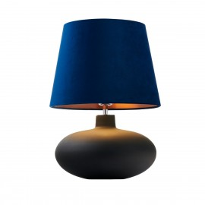 Lampa stojąca SAWA VELVET aksamitny abażur granat i miedź na szklanej matowej podstawie z dodatkami w kolorze chromu KASPA