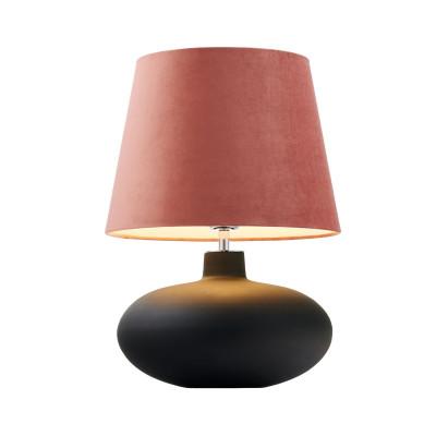 Lampa stojąca SAWA VELVET różowy aksamitny abażur na szarej szklanej matowej podstawie z dodatkami w kolorze chromu KASPA