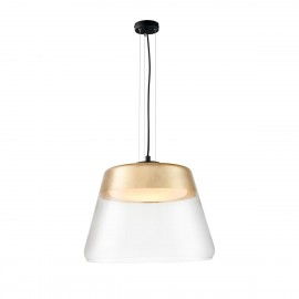 Gold ceiling hanging lamp SPIRIT XL glass shade details black KASPA