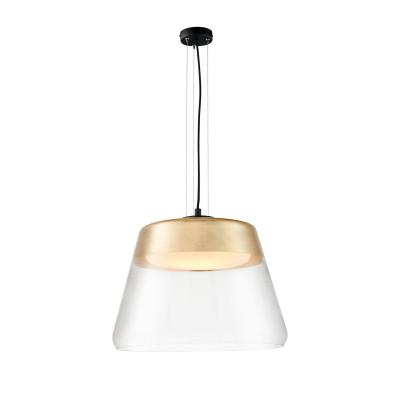 Złota sufitowa lampa wisząca SPIRIT XL  szklany klosz detale czarne KASPA