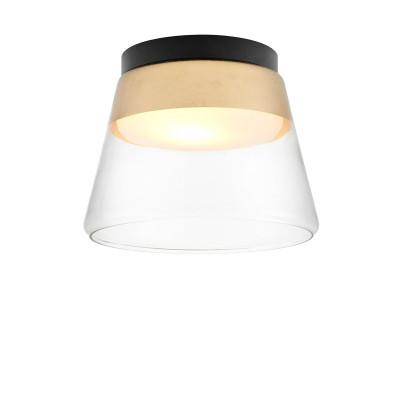 Złota lampa przysufitowa SPIRIT szklany klosz detale czarne KASPA