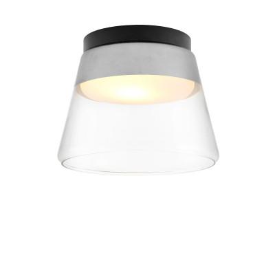 Srebrna lampa przysufitowa SPIRIT szklany klosz detale czarne KASPA