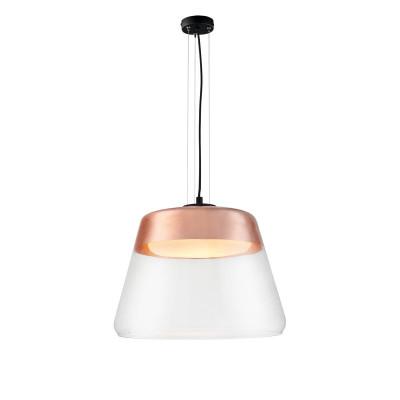 Miedziana sufitowa lampa wisząca SPIRIT XL  szklany klosz detale czarne KASPA