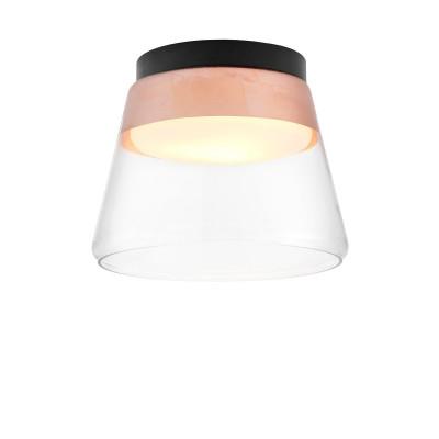Miedziana lampa przysufitowa SPIRIT szklany klosz detale czarne KASPA