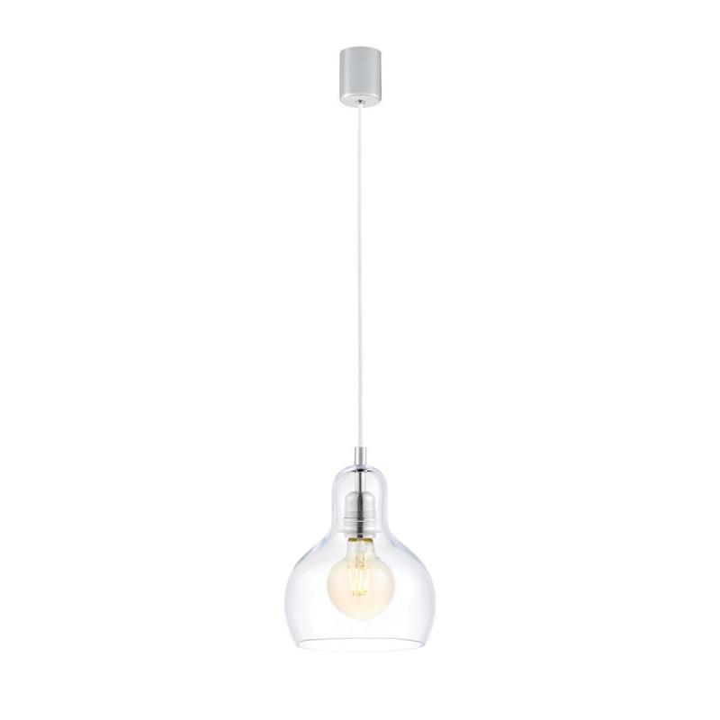 Sufitowa lampa wisząca LONGIS I przezroczysty szklany klosz, przewód biały KASPA