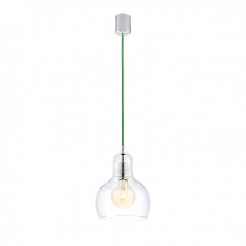 Sufitowa lampa wisząca LONGIS I przezroczysty szklany klosz, przewód zielony KASPA