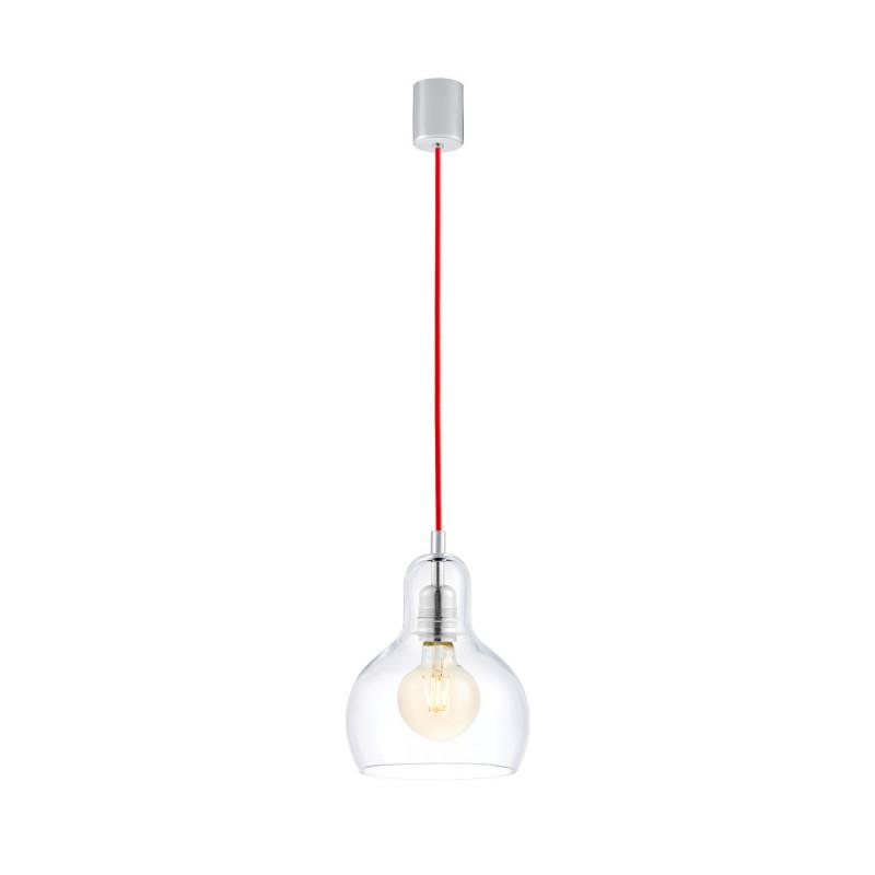 Sufitowa lampa wisząca LONGIS I przezroczysty szklany klosz, przewód czerwony KASPA