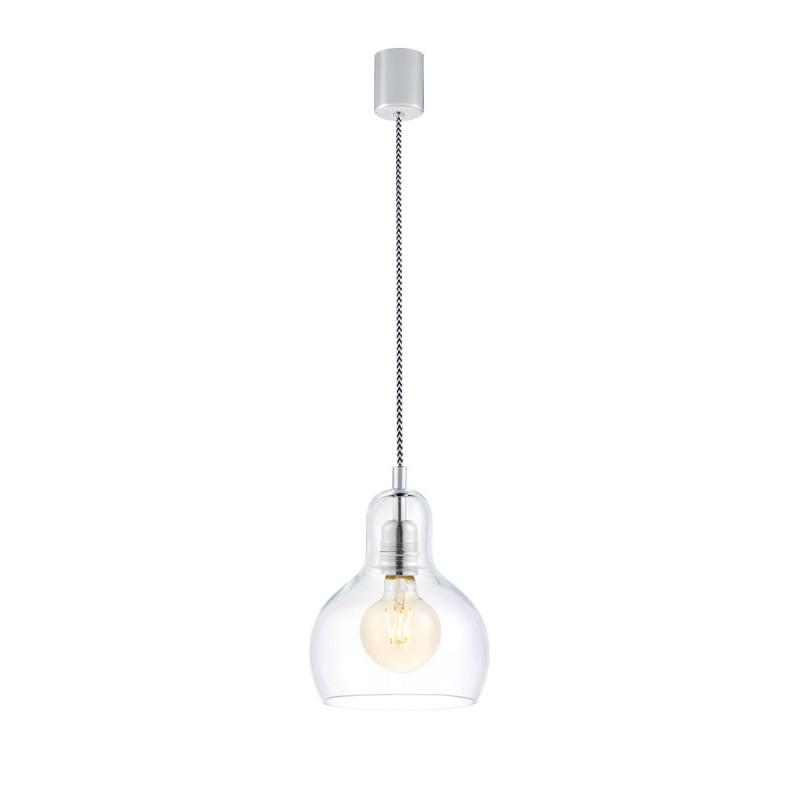 Sufitowa lampa wisząca LONGIS I przezroczysty szklany klosz, przewód czarno-biały KASPA