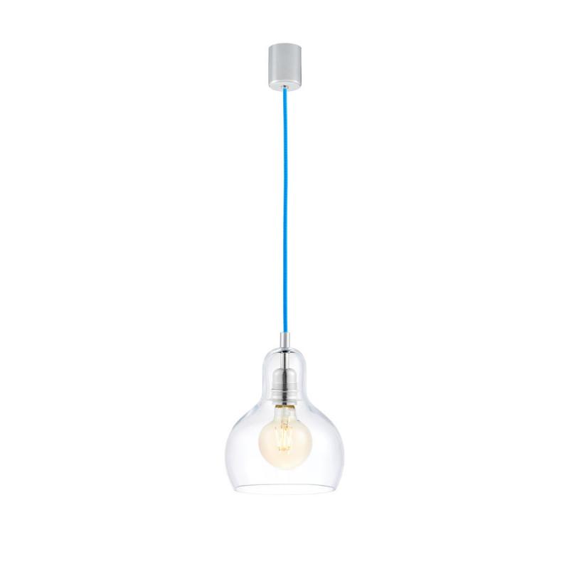 Sufitowa lampa wisząca LONGIS I przezroczysty szklany klosz, przewód niebieski KASPA