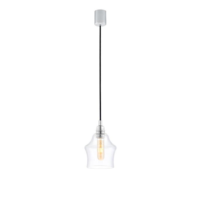 Sufitowa lampa wisząca LONGIS II transparentny szklany klosz, przewód czarny KASPA