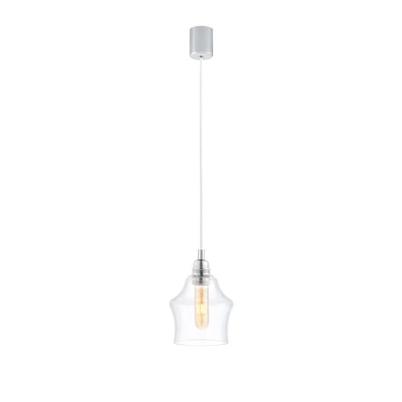 Sufitowa lampa wisząca LONGIS II transparentny szklany klosz, przewód biały KASPA