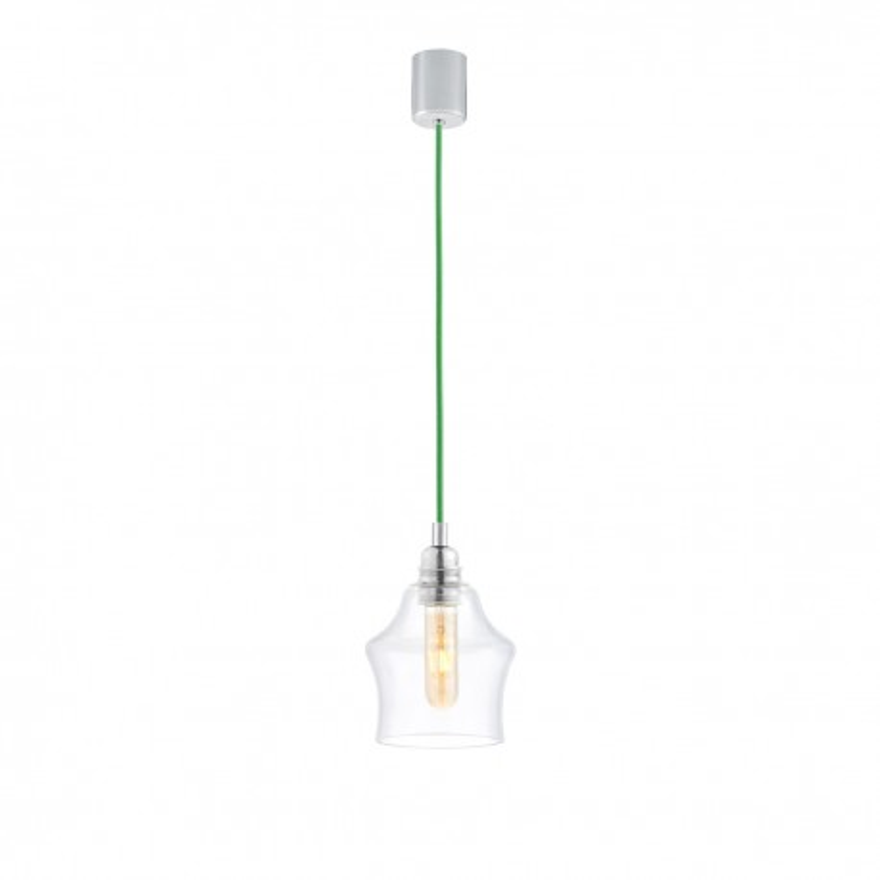 Sufitowa lampa wisząca LONGIS II transparentny szklany klosz, przewód zielony KASPA