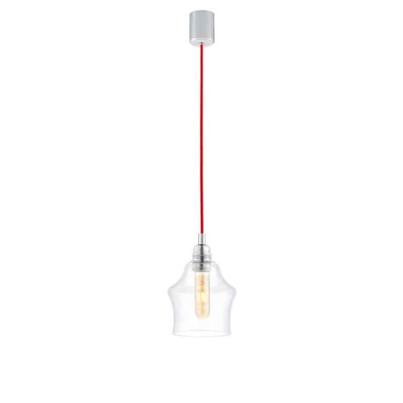 Sufitowa lampa wisząca LONGIS II transparentny szklany klosz, przewód czerwony KASPA