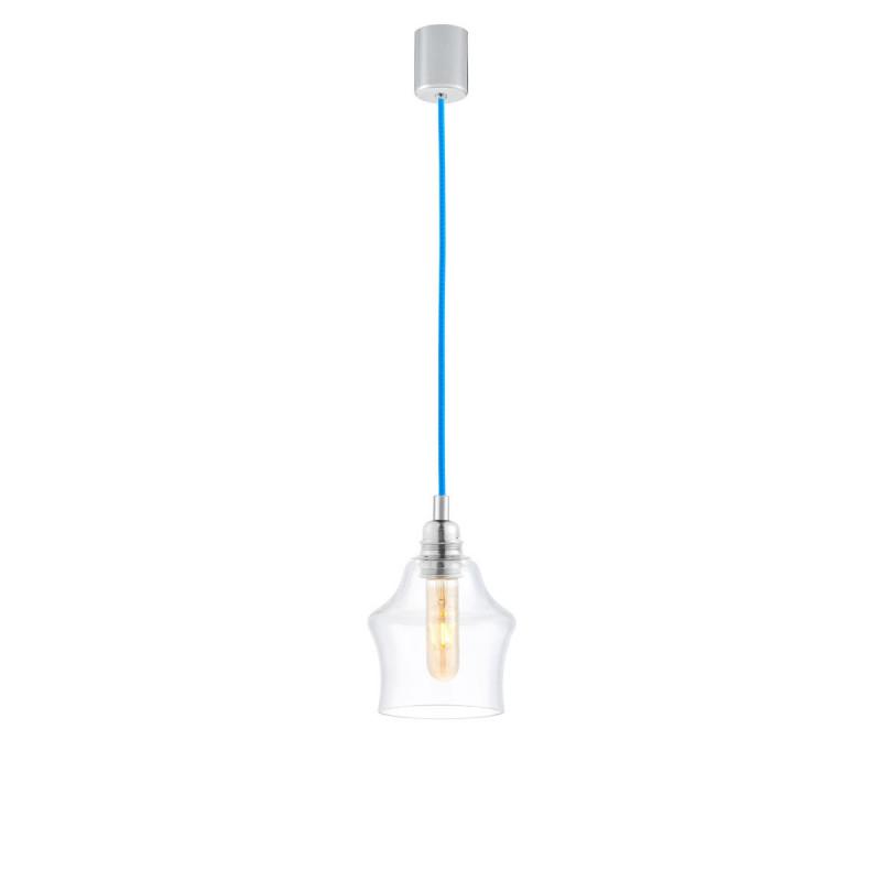 Sufitowa lampa wisząca LONGIS II transparentny szklany klosz, przewód niebieski KASPA