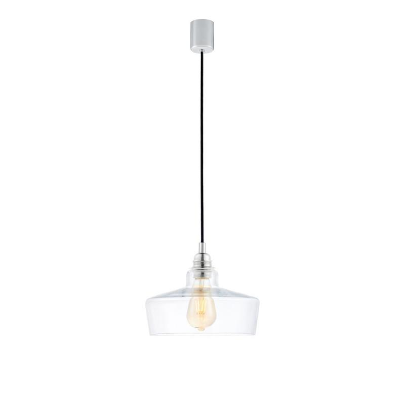 Sufitowa lampa wisząca LONGIS III transparentny szklany klosz, przewód czarny KASPA