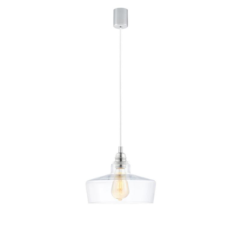 Sufitowa lampa wisząca LONGIS III transparentny szklany klosz, przewód biały KASPA