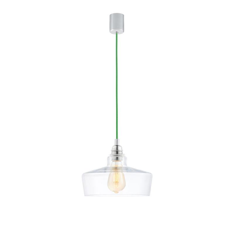Sufitowa lampa wisząca LONGIS III transparentny szklany klosz, przewód zielony KASPA kolorowekable.pl