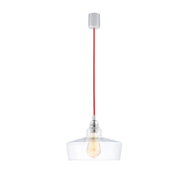 Sufitowa lampa wisząca LONGIS III transparentny szklany klosz, przewód czerwony KASPA