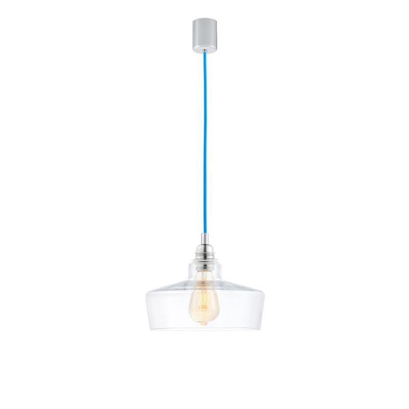 Sufitowa lampa wisząca LONGIS III transparentny szklany klosz, przewód niebieski KASPA
