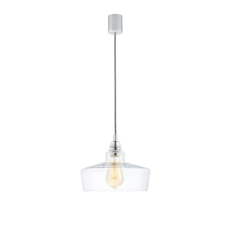 Sufitowa lampa wisząca LONGIS III transparentny szklany klosz, przewód retro KASPA