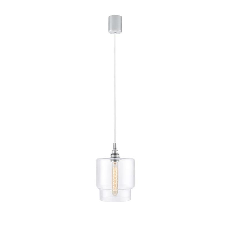 Sufitowa lampa wisząca LONGIS IV transparentny szklany klosz, przewód biały KASPA