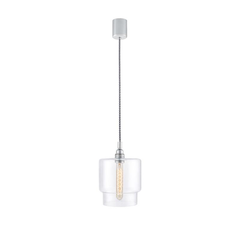 Sufitowa lampa wisząca LONGIS IV transparentny szklany klosz, przewód retro KASPA