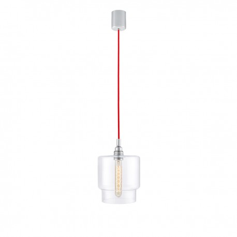 Sufitowa lampa wisząca LONGIS IV transparentny szklany klosz, przewód czerwony KASPA