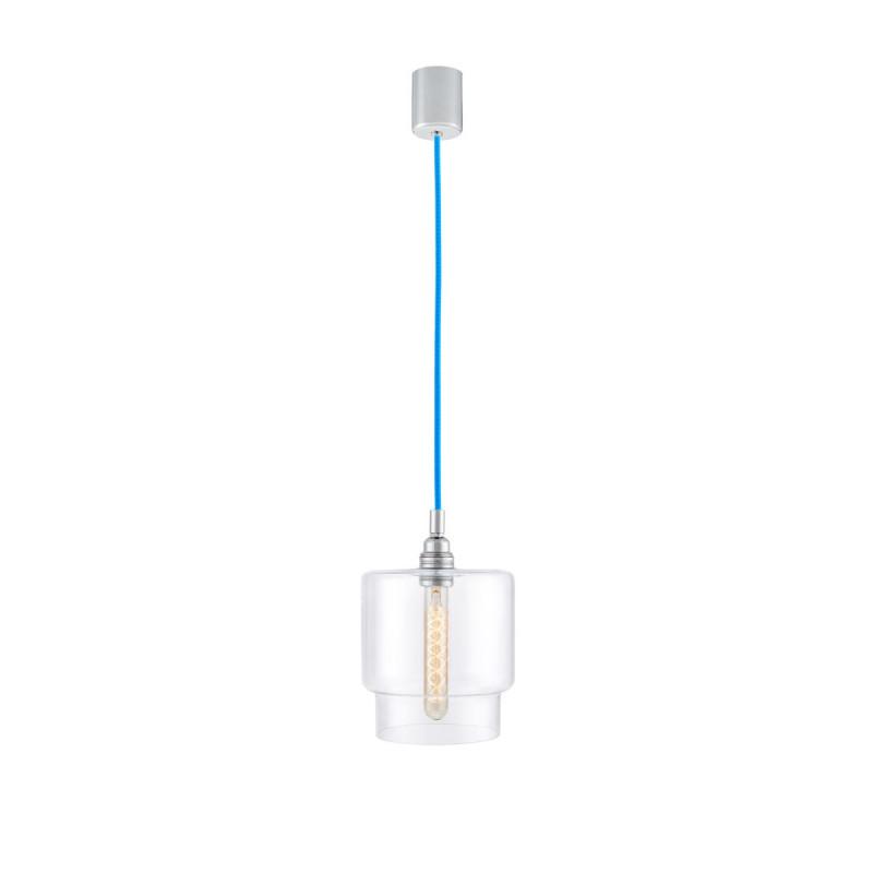 Sufitowa lampa wisząca LONGIS IV transparentny szklany klosz, przewód niebieski KASPA