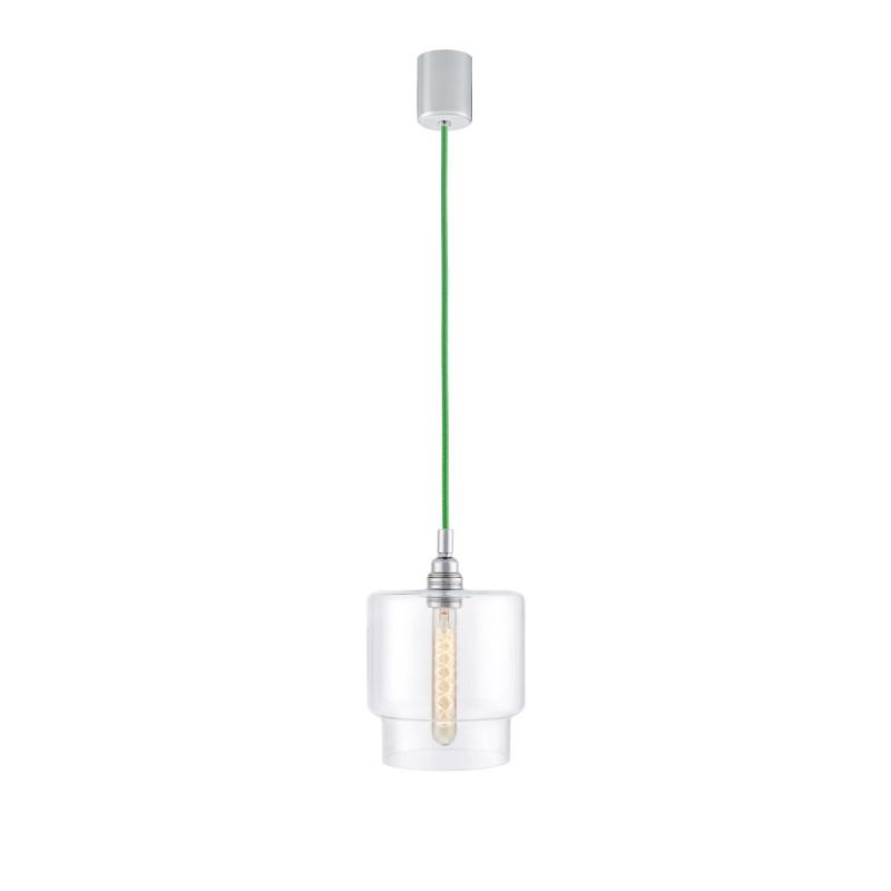 Sufitowa lampa wisząca LONGIS IV transparentny szklany klosz, przewód zielony KASPA