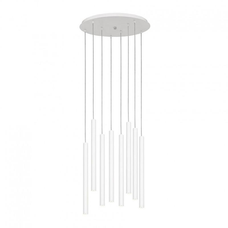 Biała lampa wisząca wielopunktowa ROLL lampa wisząca na listwie ze zintegrowanym panelem LED KASPA