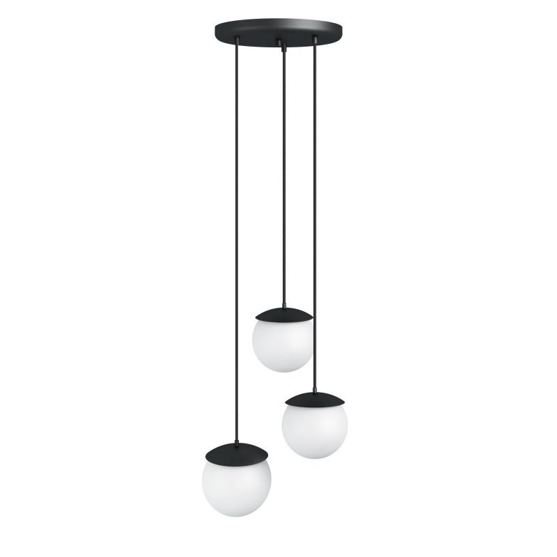Triple ceiling black hanging lamp KUUL F three white glass balls 15cm UMMO