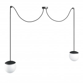 Triple ceiling black hanging lamp with adjustable length KUUL F two white 15mm glass balls UMMO