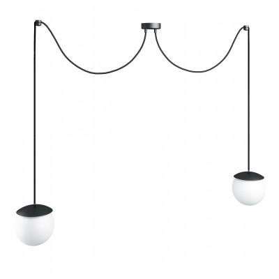 Potrójna sufitowa czarna lampa wisząca z regulowaną długością KUUL F dwie białe szklane kule 15cm UMMO