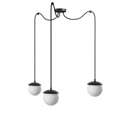 Potrójna sufitowa czarna lampa wisząca z regulowaną długością KUUL F trzy białe szklane kule 15cm UMMO