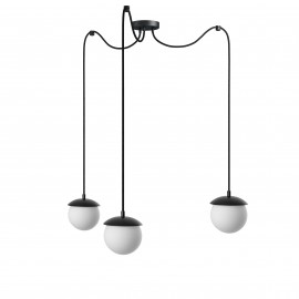 Triple ceiling black hanging lamp with adjustable length KUUL F three white 15mm glass balls UMMO