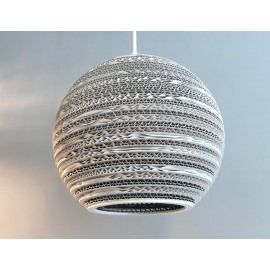 Ceiling white hanging lamp from cardboard MOON 25 ecological lamp SOOA