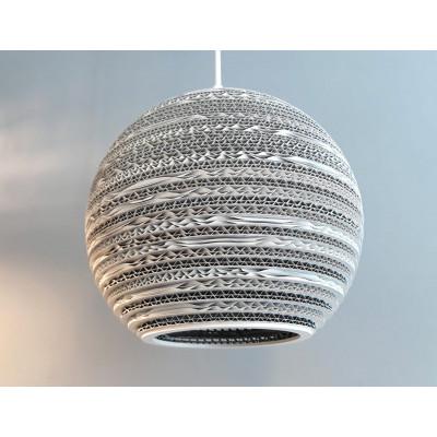 Sufitowa biała lampa wisząca z tektury MOON 25 lampa ekologiczna SOOA