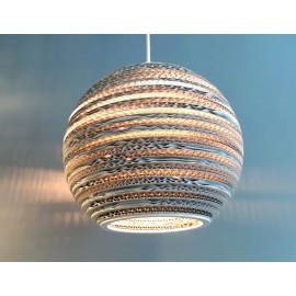 Ceiling white hanging lamp from cardboard MOON 35 ecological lamp SOOA