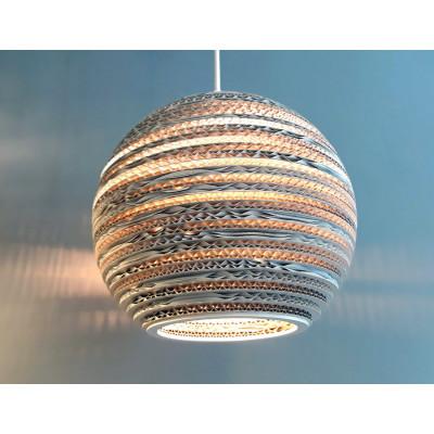 Sufitowa biała lampa wisząca z tektury MOON 35 lampa ekologiczna SOOA