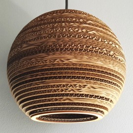 Ceiling white hanging lamp from cardboard SFERA 25 ecological lamp SOOA