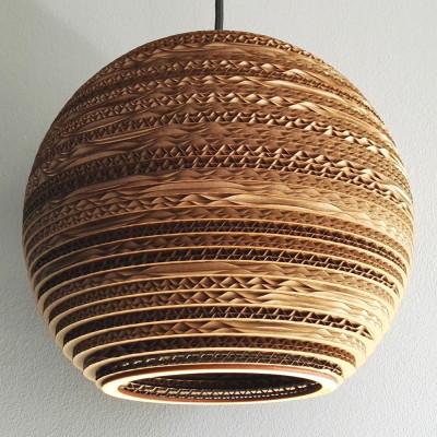 Sufitowa biała lampa wisząca z tektury SFERA 25 lampa ekologiczna SOOA