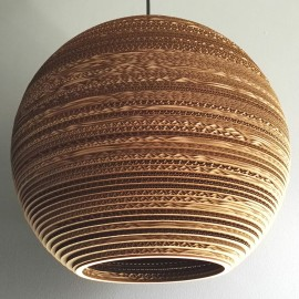 Ceiling hanging lamp from cardboard SFERA 45 ecological lamp SOOA