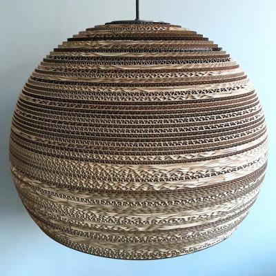 Sufitowa lampa wisząca z tektury SFERA 60 lampa ekologiczna SOOA