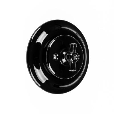 Rustykalny ceramiczny podtynkowy włącznik światła pojedynczy, w stylu retro - czarny Kolorowe Kable
