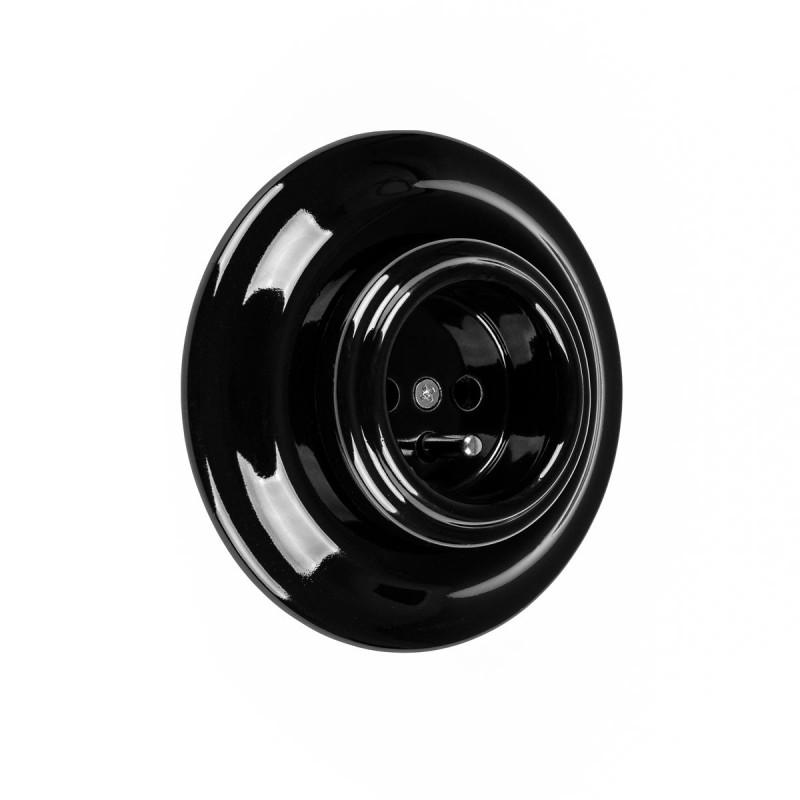 Rustic ceramic flush-mounted socket in retro style with grounding pin - black Kolorowe Kable
