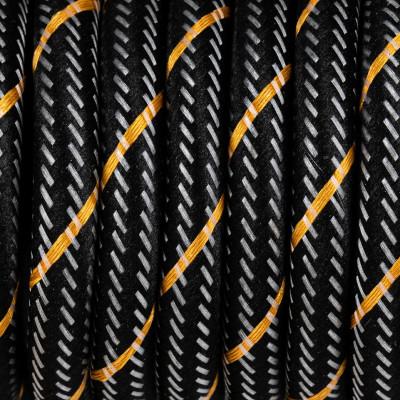 Czarny kabel ze złotą nitką w oplocie poliestrowym S05 serpentyna czarno złota 2x0,75 Kolorowe Kable