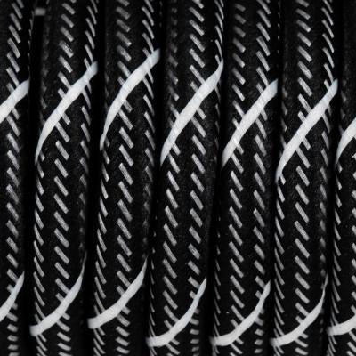 Czarny kabel z białą nitką w oplocie poliestrowym S06 serpentyna czarno biała 2x0,75 Kolorowe Kable
